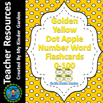 Golden Yellow Dot Apple Number Word Flashcards Zero To One