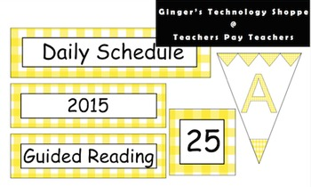 Golden Yellow Gingham Schedule Cards * Labels * Pennants *