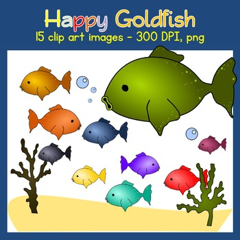 Goldfish Clip Art - Ocean - Sea Weed, Sand, Fishes - Comme
