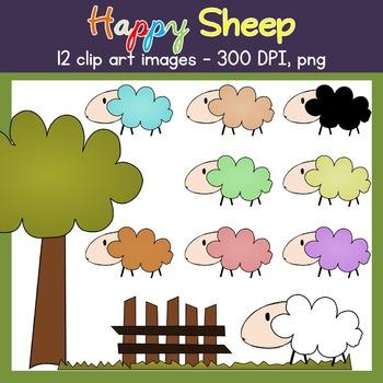 Sheep Clip Art - Farm - Sheep, Grass, Fence, Tree - Commer