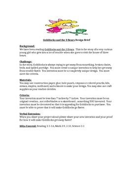 Goldilocks and the 3 Bears STEM Children's Engineering Des