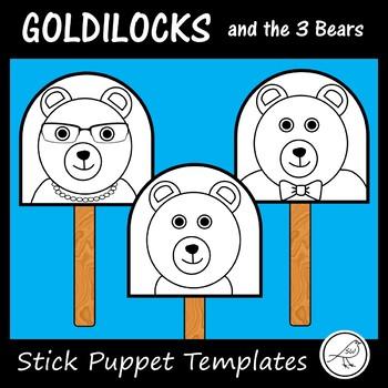 Goldilocks and the 3 Bears  -  Stick Puppet Templates (bla