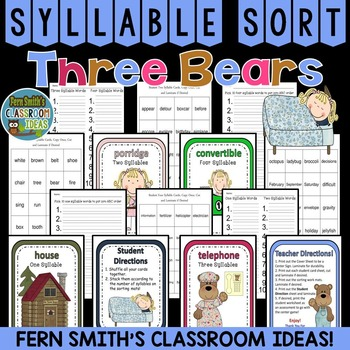 Goldilocks and the Three Bears Syllable Sort Center Games
