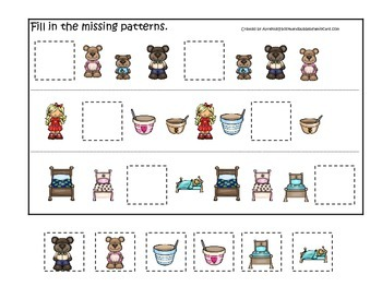 Goldilocks and the Three Bears themed Fill in the Missing