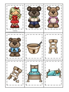 Goldilocks and the Three Bears themed Memory Matching Card