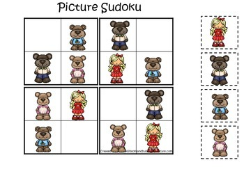 Goldilocks and the Three Bears themed Picture Sudoku presc