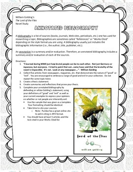 Golding's The Lord of the Flies (Annotated Bibliography As