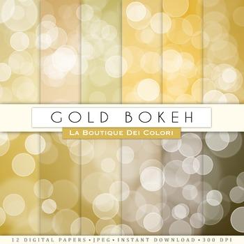 Goldl Bokeh Digital Paper, scrapbook backgrounds
