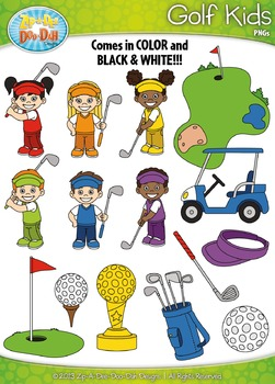 Golf Sports Kid Characters Clipart Set Set — Includes 30 G