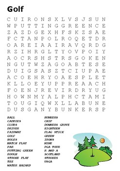 Golf Word Search