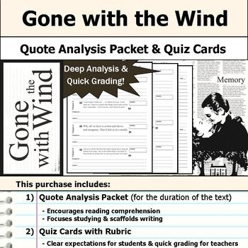 Gone with the Wind - Quote Analysis & Reading Quizzes
