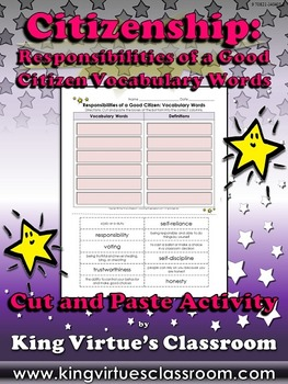 Good Citizen: Responsibilities Vocabulary Cut and Paste Ac