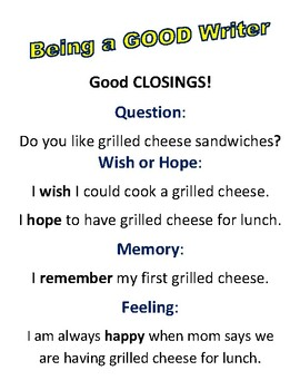 Good Closings for Student Writing!