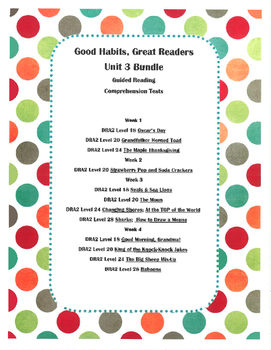 Good Habits, Great Readers Unit 3 Guided Reading Comprehen