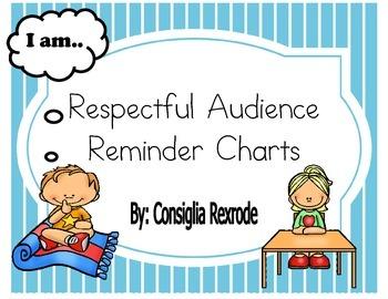 Good Listener/Respectful Audience Reminder Charts (Blue Stripes)