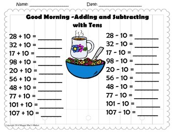Good Morning - Add and Subtract Ten, Missing Addend, True/