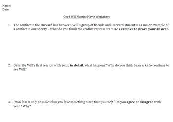 Good Will Hunting Movie Worksheet