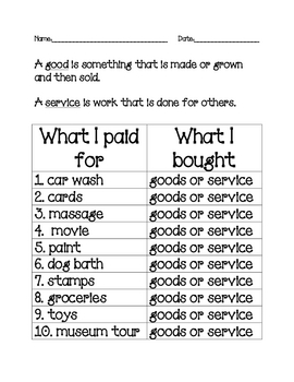 Goods and Services Worksheet for Grade 1 | Student Handouts