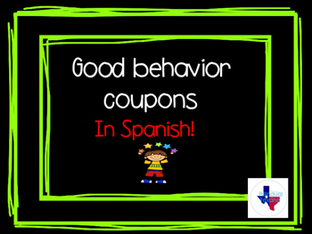 Good behavior reward coupons in Spanish