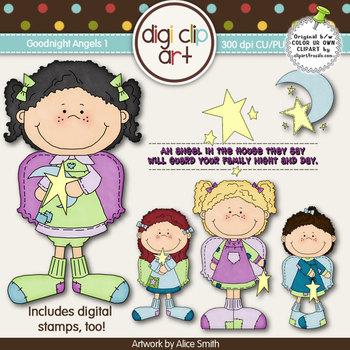 Goodnight Angels 1-  Digi Clip Art/Digital Stamps - CU Clip Art