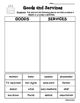 Goods and Services Economics Cut and Paste Sorting Worksheet