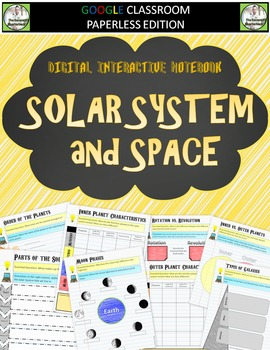 Google Classroom Digital Notebook Solar System and Space
