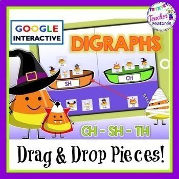 Google Classroom Digraphs Word Sort (Candy Corn/Halloween Theme)