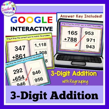 Google Classroom Math 3-Digit Addition Task Cards