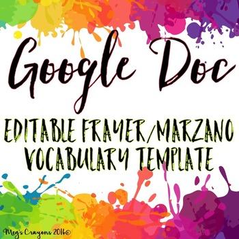 Google Doc- Frayer/Marzano Vocabulary Template