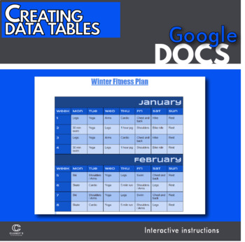 Google Docs - Creating tables intro activity
