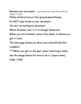 Google Docs Formatting- Happy October