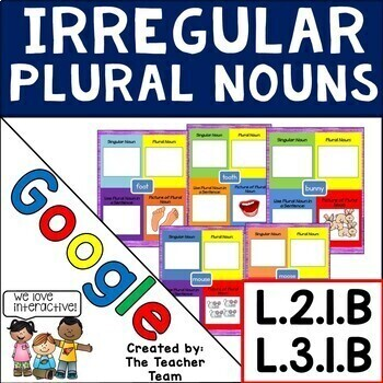 Google Drive Irregular Plural Nouns Digital Activites for
