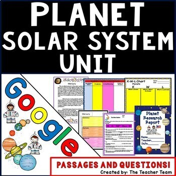 Google Drive Planets-Solar System Unit Interactive Noteboo