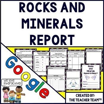 Google Drive Rocks and Minerals Report for Google Classroom