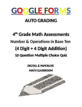 4th Grade Math Assessment: Google Form, Addition