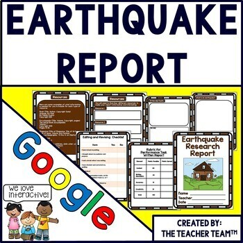 Google Drive Earthquake Report for Google Classroom