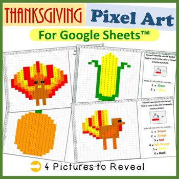 Google Sheets Thanksgiving Mystery Pictures Fill Color - C