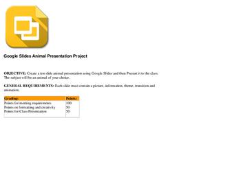 Google Slides Animal Presentation Project Directions Lesson
