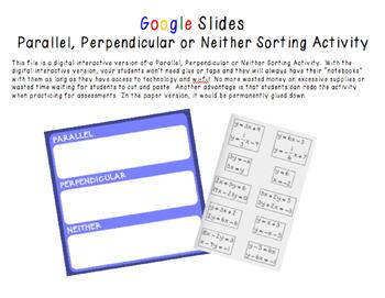 Google Slides Interactive Parallel, Perpendicular or Neith