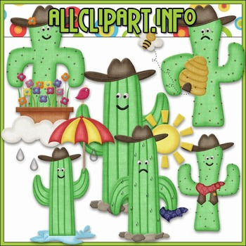 BUNDLED SET - Googley Eyed Cowboy Cactus Clip Art & Digita
