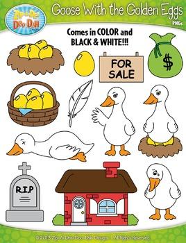 Goose With the Golden Eggs Famous Fables Clip Art Set — Ov