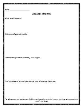 Got Self-Esteem? worksheet
