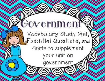 Government Essential Questions & Vocabulary Mat