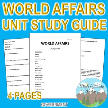 World Affairs Unit Study Guide (Government)