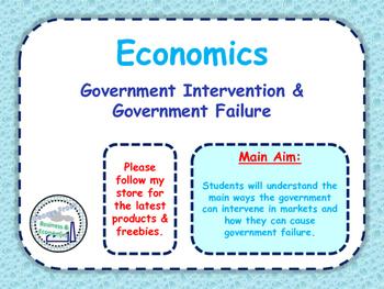 Government Intervention & Government Failure - PPT, Quiz &