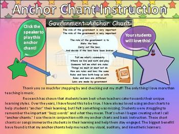 Government Role Song (Social Studies) Anchor Chart and Cha
