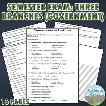 Government Semester Exam: Early Government - Three Branches