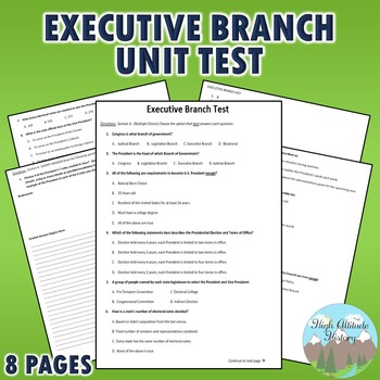 Executive Branch Unit Test / Exam / Assessment (Government)