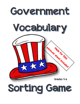 Government Vocabulary Sorting Game