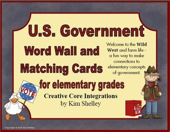 Government Vocabulary Word Wall and Matching for Elementar